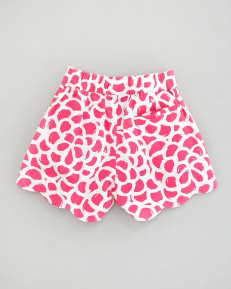 Camelia Printed Scalloped Shorts
