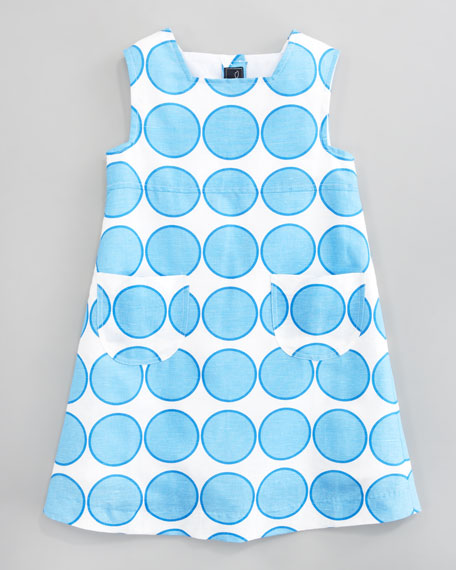 Blue Dot Linen A-line Dress