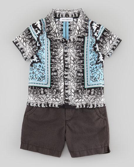 Centurion-Printed Poplin Shirt, Blue Multi