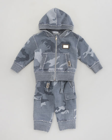 French Terry Camo Cargo Pants, 3-24 months