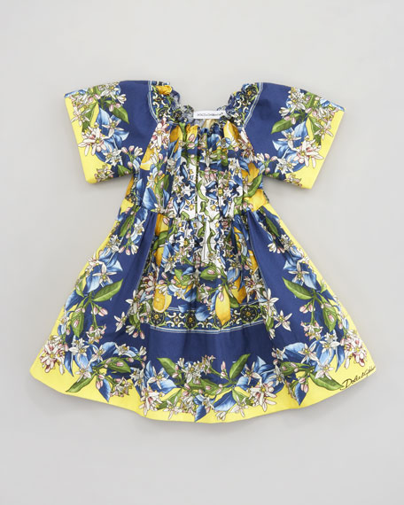 Floral & Citrus-Print Poplin Dress