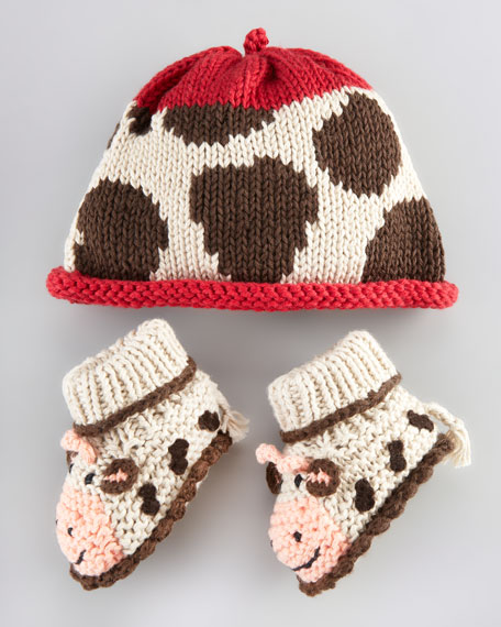 Cow Hat and Bootie Set