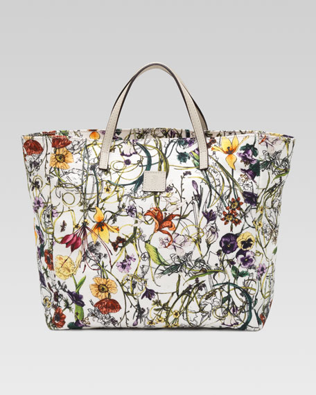 Girls' Floral-Print Canvas Tote Bag
