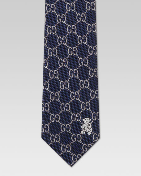 Children's GG Print Silk Tie, Midnight Blue/Sky Blue