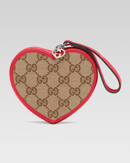 Girls' Micro Guccissima Heart Wristlet, Beige Ebony/Dark Watermelon