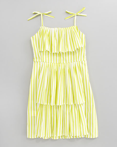 Striped Ruffled Sundress, Sizes 8-10