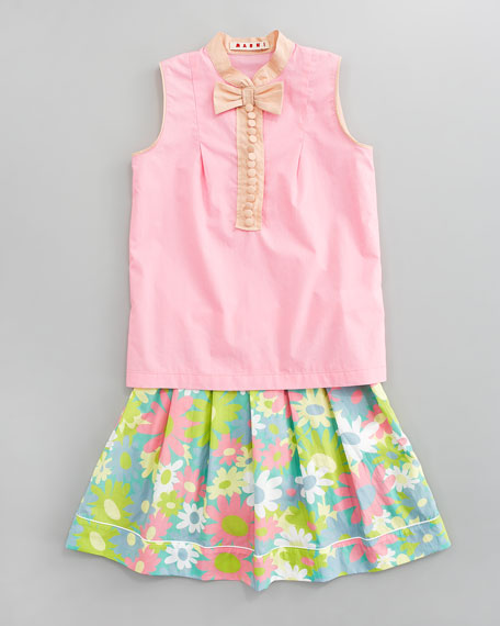 Floral-Print Pleated Skirt, Sizes 2-6
