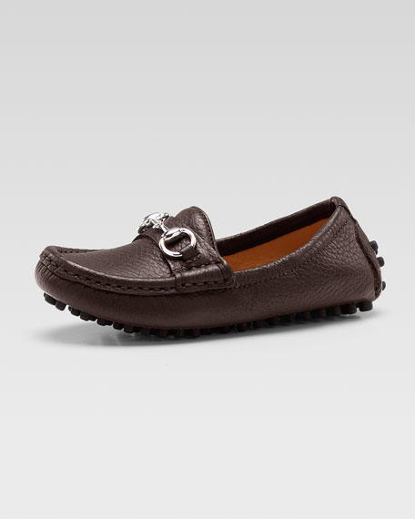 Damo Leather Driving Loafer, Dark Brown, Youth