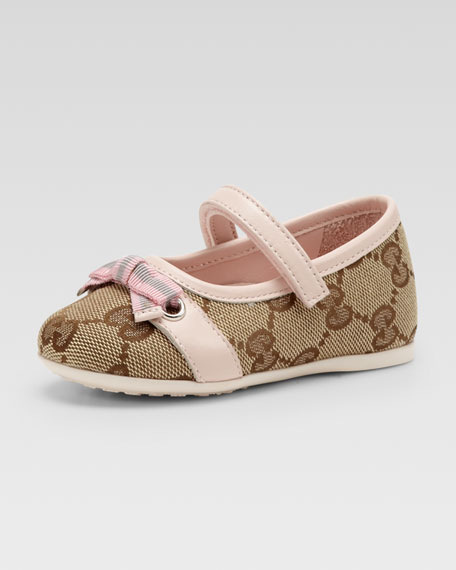 Marilyn GG Canvas Mary Jane Ballerina, Beige Ebony/Pink, Toddler