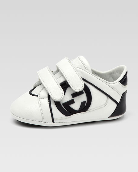 Baby Rebound Double-Strap Sneaker, White/Blue