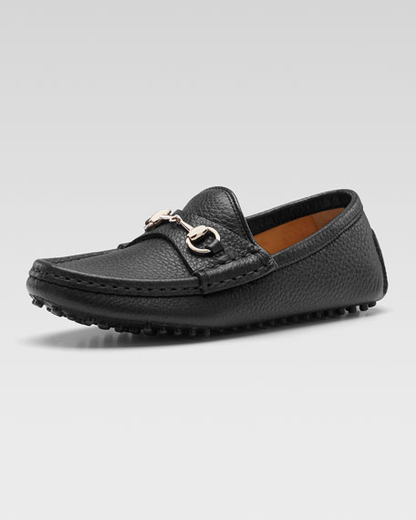 Damo Leather Driving Loafer, Black, Youth