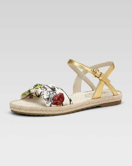 Golden Floral-Print Espadrille Sandal, Youth