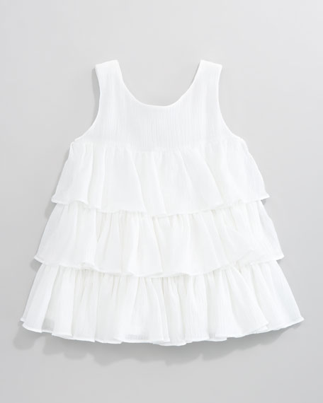 Ruffled Crinkled Voile Dress, White