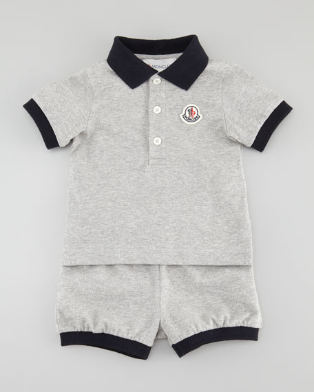Short Sleeve Polo & Shorts Set, Gray