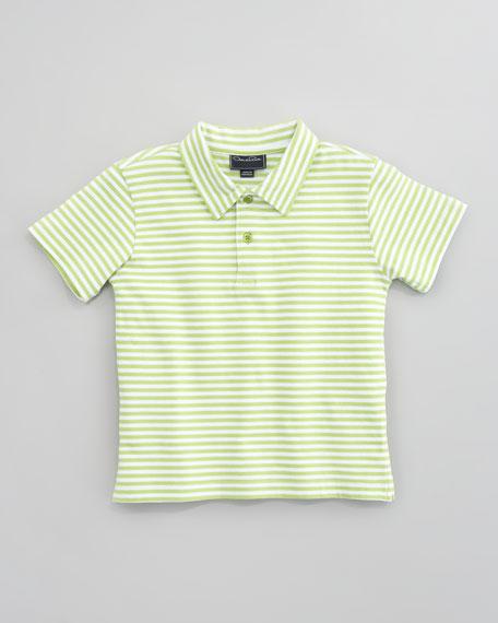 Striped Knit Polo Shirt, Lime/White