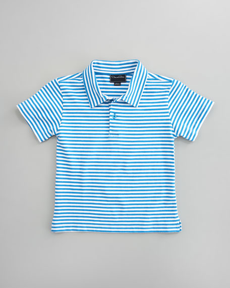 Striped Knit Polo, Marine Blue/White