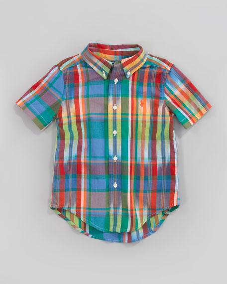 Green Blake Short-Sleeve Plaid Shirt, Sizes 2-7