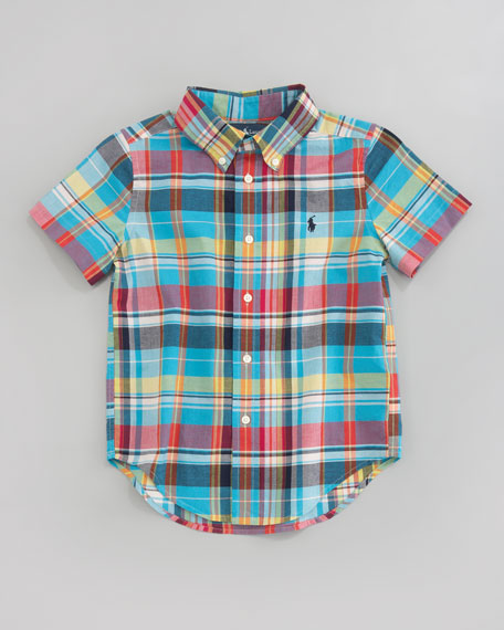 Blake Short-Sleeve Plaid Shirt, Aqua