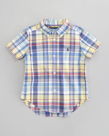 Blake Short-Sleeve Plaid Shirt, Sizes 2T-7
