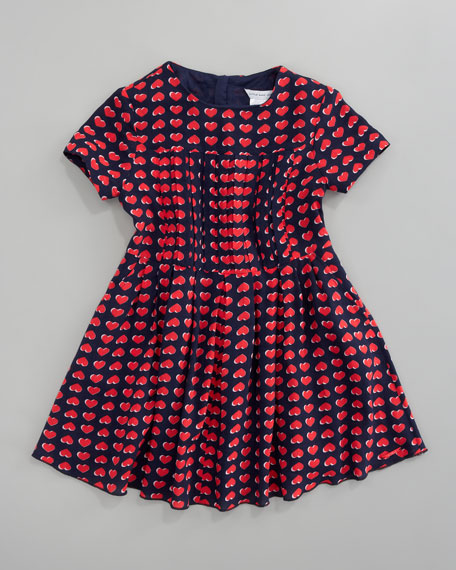 Heart Print Dress, Sizes 2A-5A