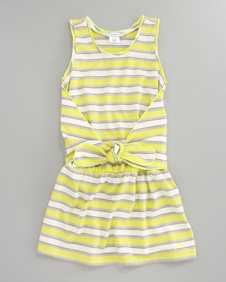 Metallic Striped Tank Dress, Sizes 6-10