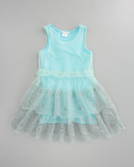 Embroidered Tulle Jersey Dress, Sizes 6-10