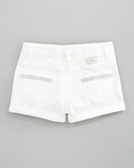 Stretch Shimmer-Trim Shorts, Sizes 6-10
