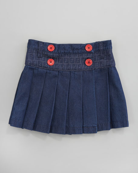 Pleated Denim Skirt, Sizes 2-5
