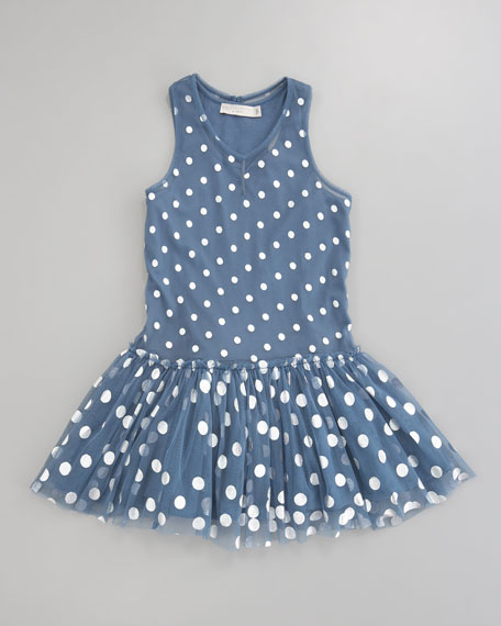 Belle Dotted Tulle Dress, Blue