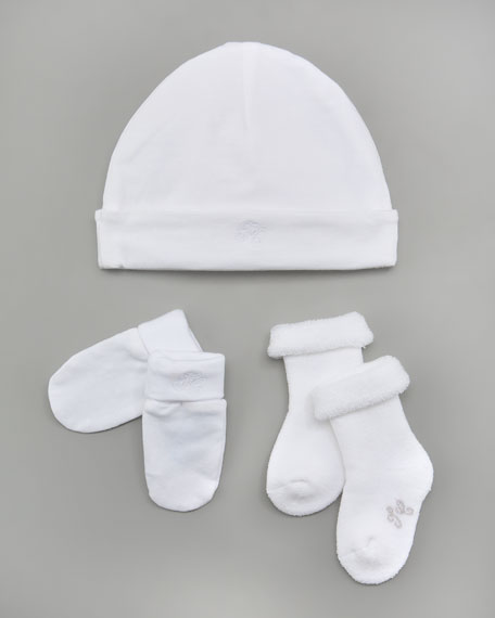 Hat, Bootie & Mitt Set, White