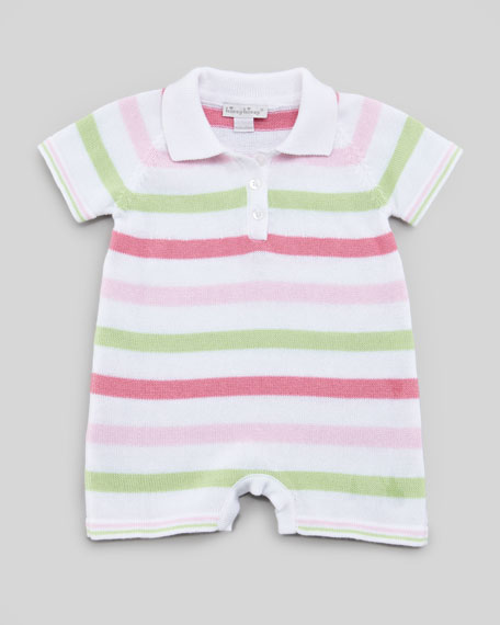 Striped Knit Playsuit, Pink/Green