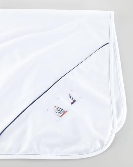 Starboard Sailboat Embroidered Blanket