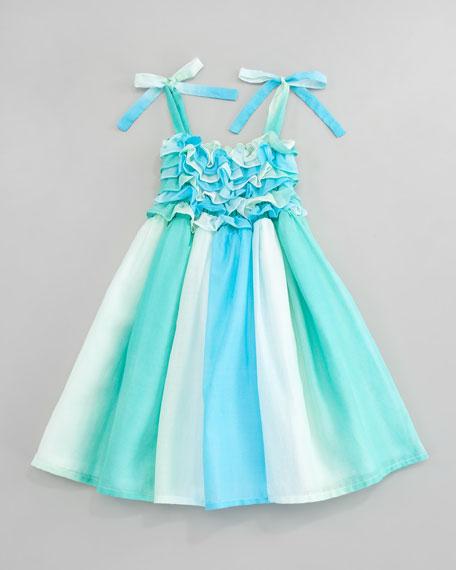 Watercolor Ruffled Smocked Dress, Sizes 4-6X