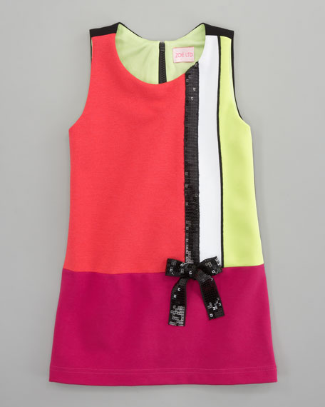 Colorblock Mod Shift Dress, Sizes 8-10