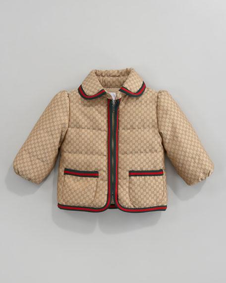 GG Waterproof Nylon Zip Jacket with Signature Trim