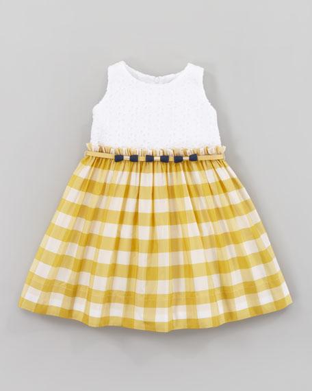 Eyelet and Taffeta Square Dress, Yellow/White