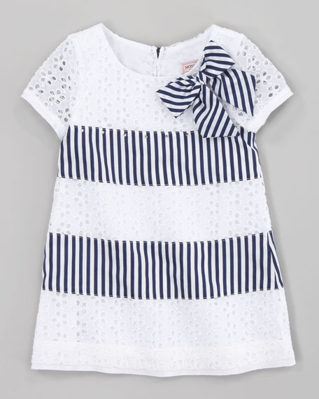 Eyelet and Stripe Dress, Navy White