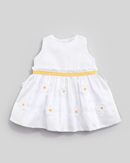 Floral Applique Dress, White/Yellow