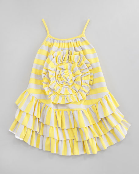 Striped Jersey Flower-Center Dress, Sizes 2T-3T