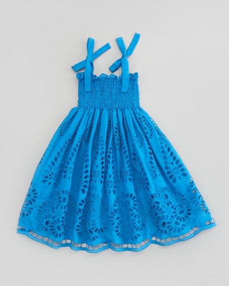 Eyelet Embroidered Smocked Dress, Sizes 4-6X