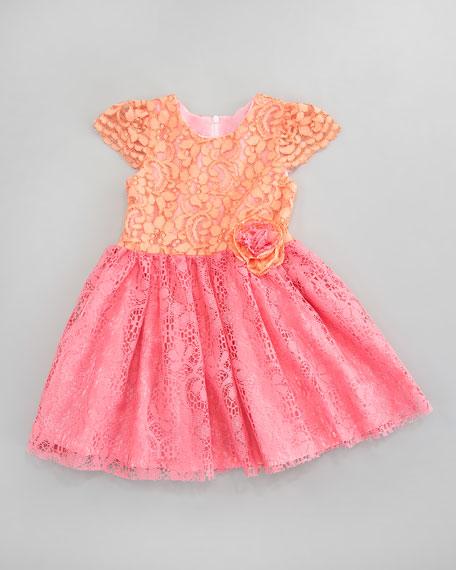 Colorblock Lace Dress, Sizes 2T-3T
