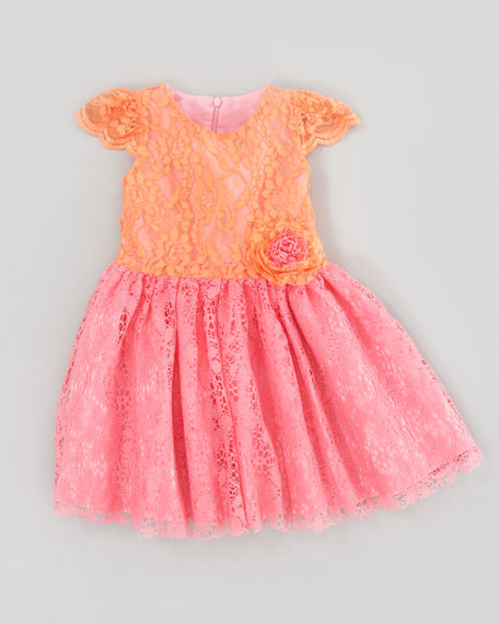 Lace Dress With Cap-Sleeves, Sizes 4-6X