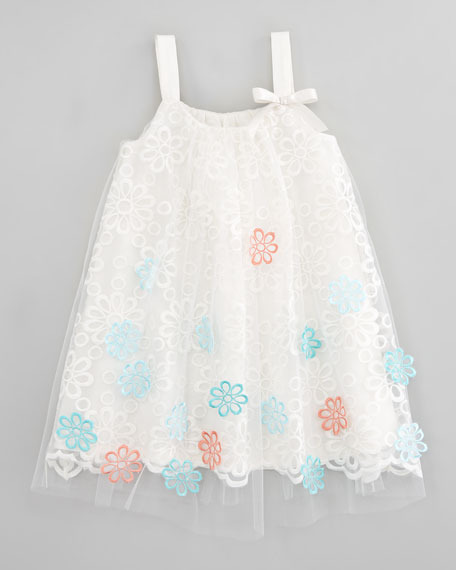 Floral Embroidered Tulle Dress, Sizes 2T-3T