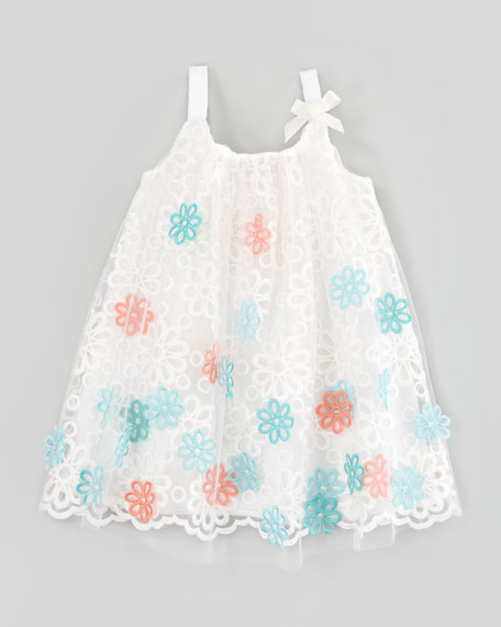 Floral Embroidered Tulle Dress, Sizes 4-6X