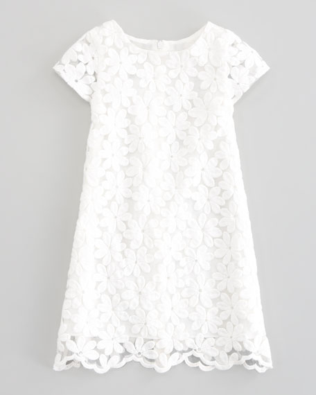 Crocheted Lace-Overlay Dress, Sizes 5-8