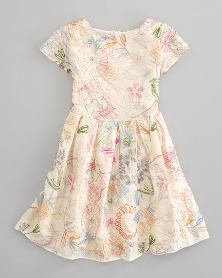 Embroidered Silk Dress, Sizes 2-4