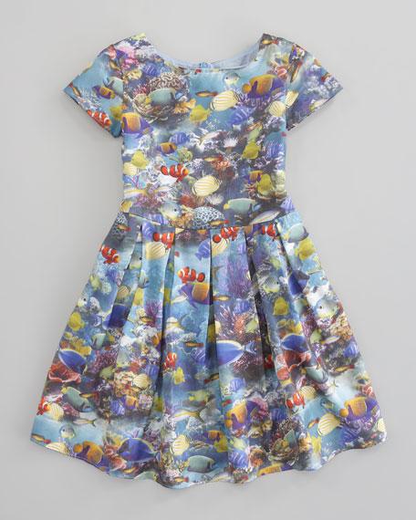 Aquarium-Print Dress, Sizes 2-4