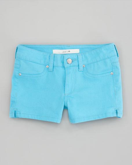 Neon Electric Blue Stretch Denim Shorts, Sizes 2-6