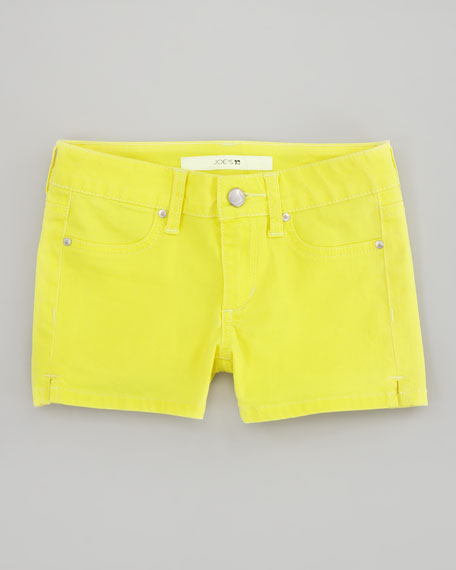 Neon Stretch Denim Shorts, Yellow