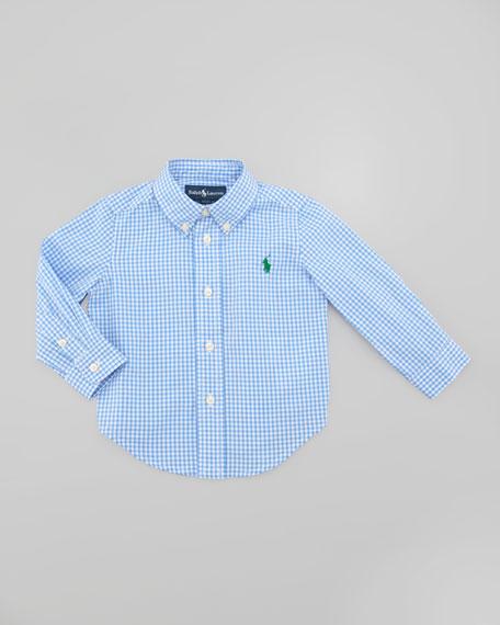 Blake Long Sleeve Gingham Shirt, Light Blue Multi